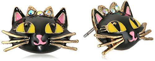 Betsey Johnson Women's Enchanted Forest Cat Stud Earrings Pink Stud Earrings. Items that are handmade may vary in size, shape and color. Made in China.