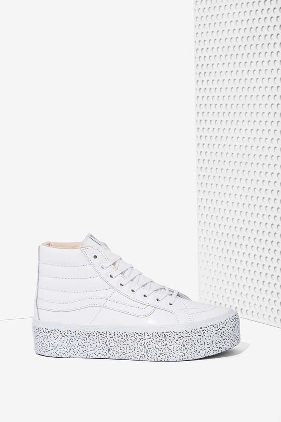 vans step up sk8-hi leather platform sneaker