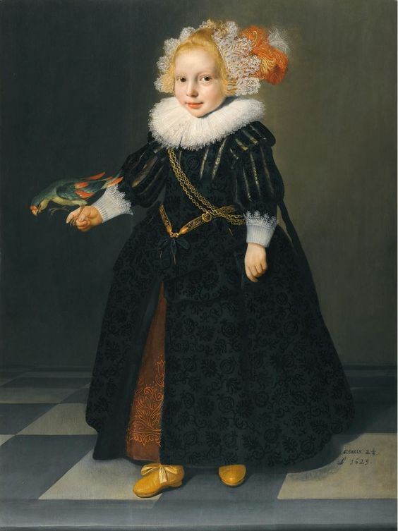 ATTRIBUTED TO DIRCK DIRCKSZ. VAN SANTVOORT, AMSTERDAM CIRCA 1610 - 1680, PORTRAIT OF A CHILD, AGED 2¼, FULL-LENGTH STANDING IN AN INTERIOR, HOLDING A PARROT, inscribed and dated lower right: AE (in compendium) tatis. 2¼./ A1629, oil on panel, 104 by 77 cm.; 41 by 30 1/4 in.