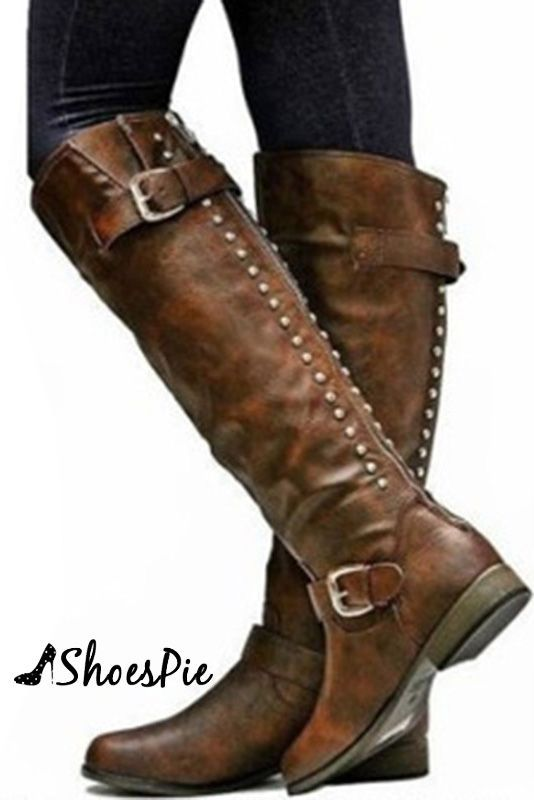 Retro Womens Knee High Riding Boots Block Heel Buckle Rivet Cowboy Pull On Shoes