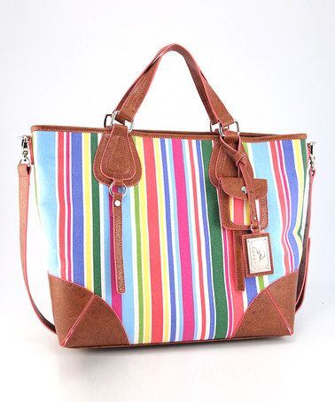 Take a look at this Tan Stripe Sensation Tote by Koret Handbags on #zulily today!