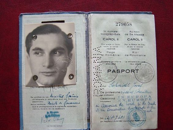 "Schmidt's Romanian passport. Later as a refugee Jew, his papers describe him as ""stateless"".:"