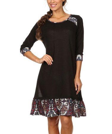 Look at this #zulilyfind! Black Paisley Shift Dress - Plus #zulilyfinds