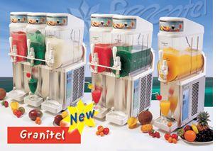 Beverage Concepts Benelux BV - Uw adres voor het Slush Puppie concept, wij leveren ook Slush Machines en Drank dispensers. Een slushmachine met hoge capaciteit, dat is de Granitel. De Granitel werkt met bowles van 12 liter en kan met maar liefst vier bowles uitgevoerd worden. De Granitel heeft een zeer aantrekkelijk uiterlijk en is ook geschikt voor serveren van ijskoude drankjes.