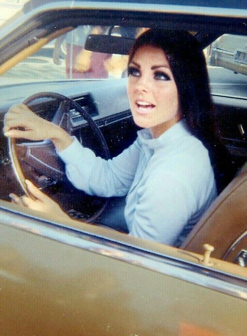 Priscilla Presley outside her Hillcrest home in Beverly Hills, CA, c. 1969