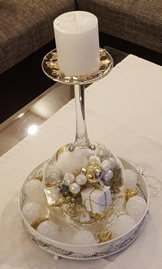 Christmas Wine Glass Candle Holder Diy Home Decor Ideas B In 2020 Kerst Wijnglas Kerstdecor