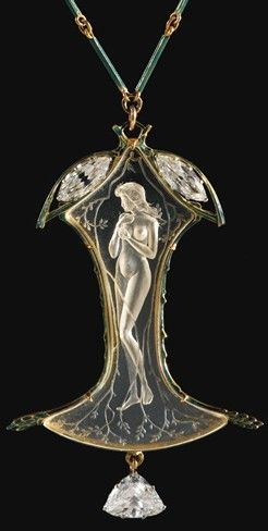 René Lalique Glass or Rock Crystal Pendant & Diamonds♥❦♥