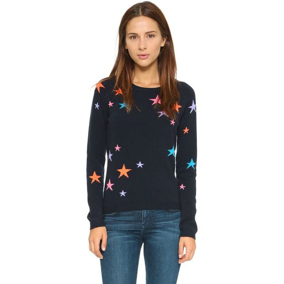 Chinti and Parker Cashmere Star Sweater (770 CAD) ❤ liked on Polyvore featuring tops, sweaters, crew neck sweaters, star sweater, cashmere crewneck sweater, cashmere tops and star print top