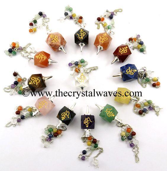 Mix Gemstones Om Engraved Hexagonal Pendulum With Chakra Chain