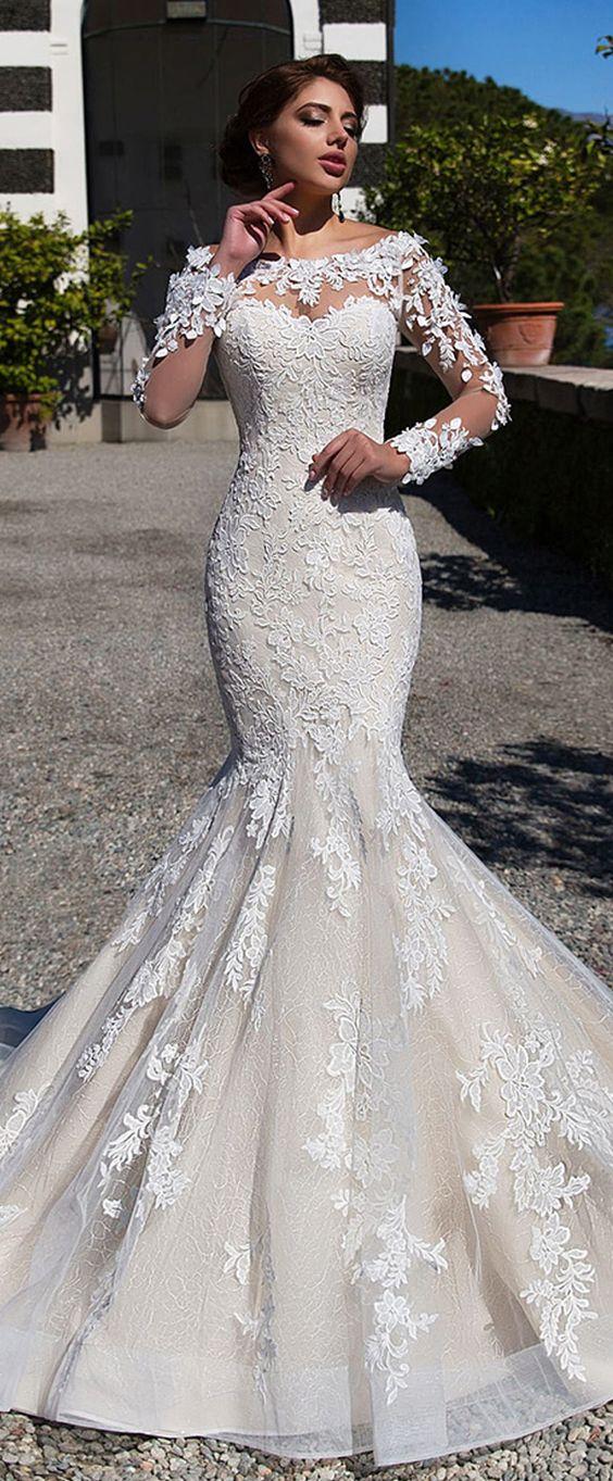 Gorgeous Tulle & Lace Bateau Neckline Mermaid Wedding Dress With Lace Appliques & 3D Flowers & Beadings
