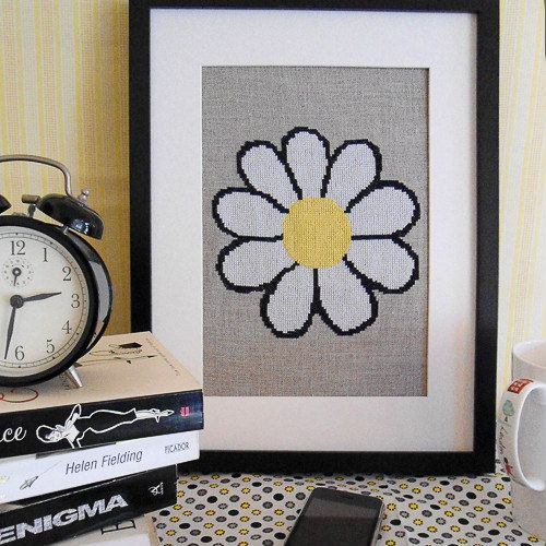 Rustic Daisy modern cross stitch pattern by HipstitchCrossStitch, $5.95