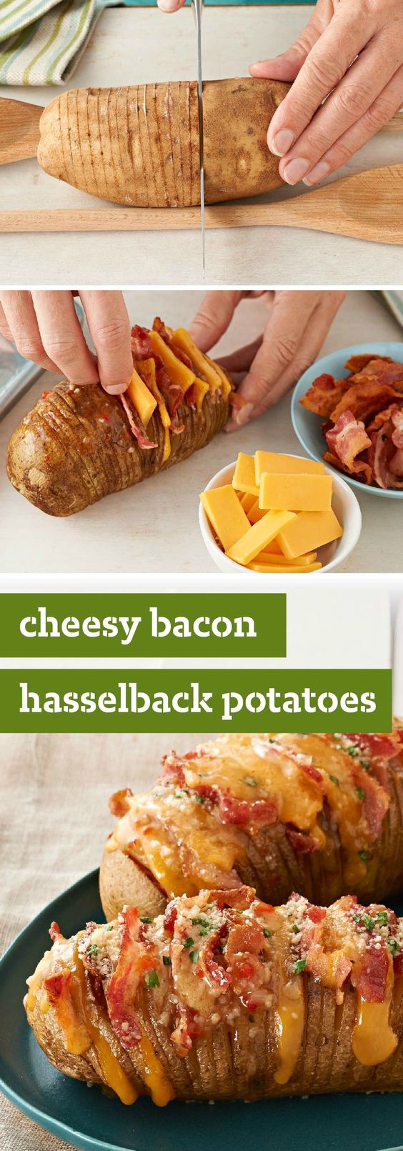 Cheesy Bacon Hasselback Potatoes €� Hasselback Potatoes Always Look Great On  A Plate This Cheesy