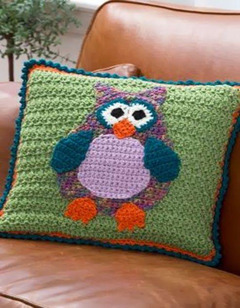 Free Crochet Owl Cushion Pattern : Owl pillows, Pillows and Crochet owls on Pinterest