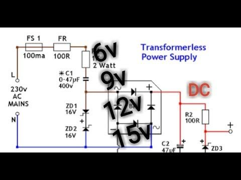 How To Make Regulated Transformerless Power Supply At Diy 220v Ac O Dc 5v 6v 12v Youtube Power Supply Circuit Circuit Diagram Power Supply