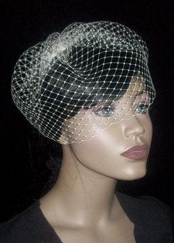 Wedding, Hair, White, Veil, Custom, Short, Birdcage, Face