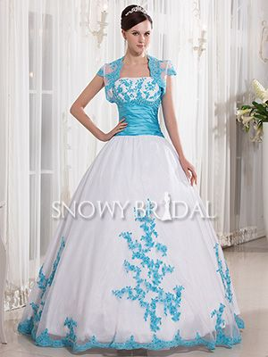 Modest Ball Gown Dropped Strapless Cap Sleeve White Blue bridal gown - US$ 237.99 - Style W1811 - Snowy Bridal