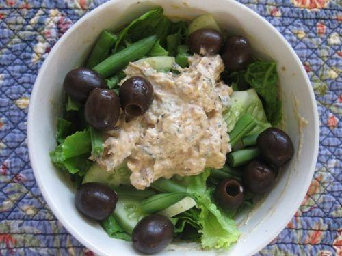 sardine salad with homemade mayo, smoked paprika, and mint