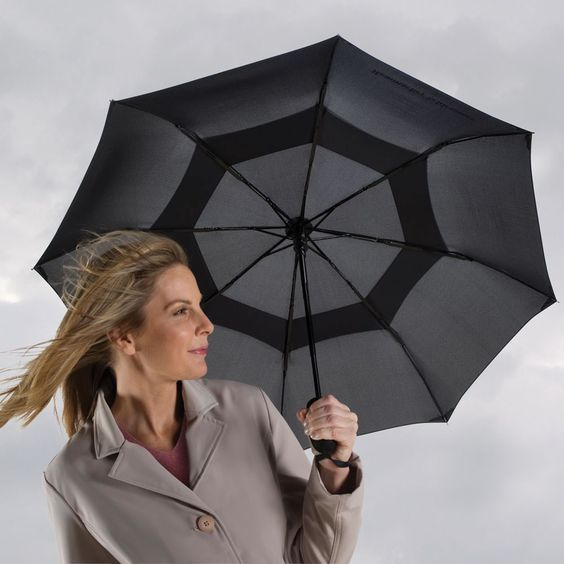 The Wind Defying Packable Umbrella. This is the packable umbrella that resists gusts up to 35 mph that turn traditional umbrellas inside-out.