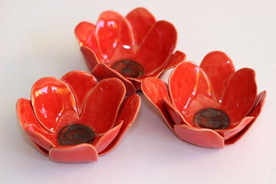 Red flower ceramic bowl -  Appetizer plate - Tapas bowl - ceramic flower shaped bowl - Candle Holder