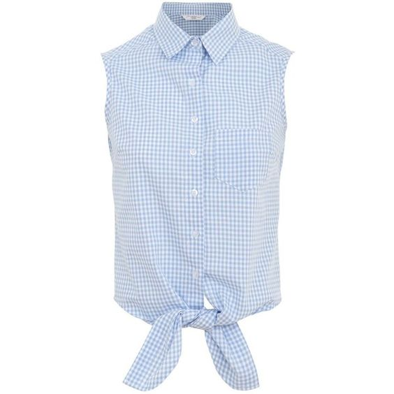 Blue Gingham Tie Front Sleeveless Shirt ($20) via Polyvore