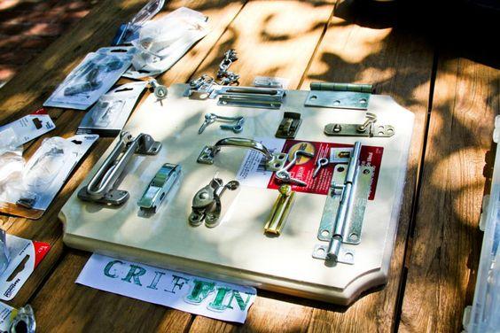 DIY latches board. Perfect Christmas present idea for my little boy!!!!!  DomesticEsq.com