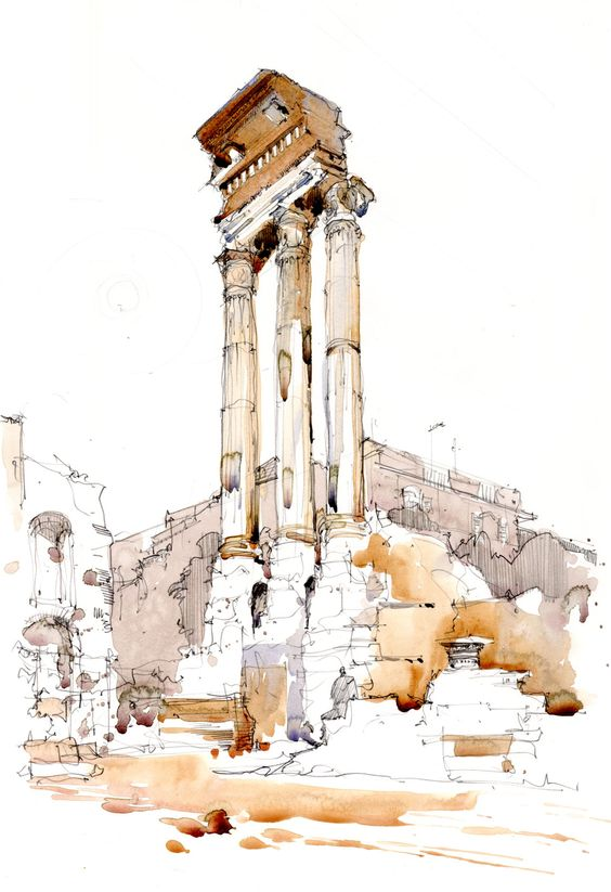 Watercolour Sketch of Column in the Forum, Rome, Italy www.nickhirst.co.uk