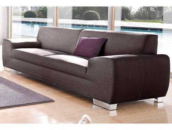 Domo Collection 3 Sitzer Braun Luxus Kunstleder Sofa Furniture Home