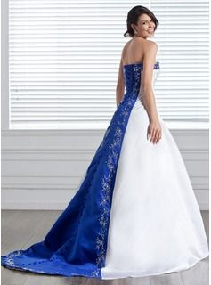A-Line/Princess Strapless Court Train Satin Wedding Dress With Embroidery Sash Beading (002005281) - JJsHouse