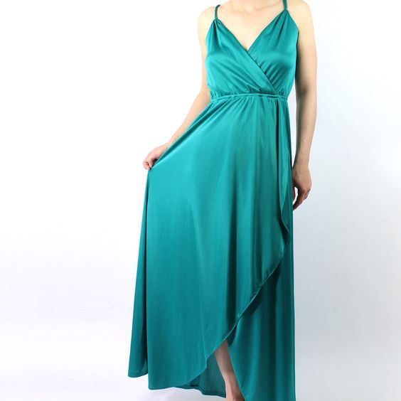green dress 1970s disco gown