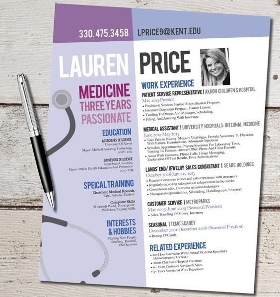 The Lauren Modern Resume Design - Medicine - Nurse - Doctor - jewelry sales resume