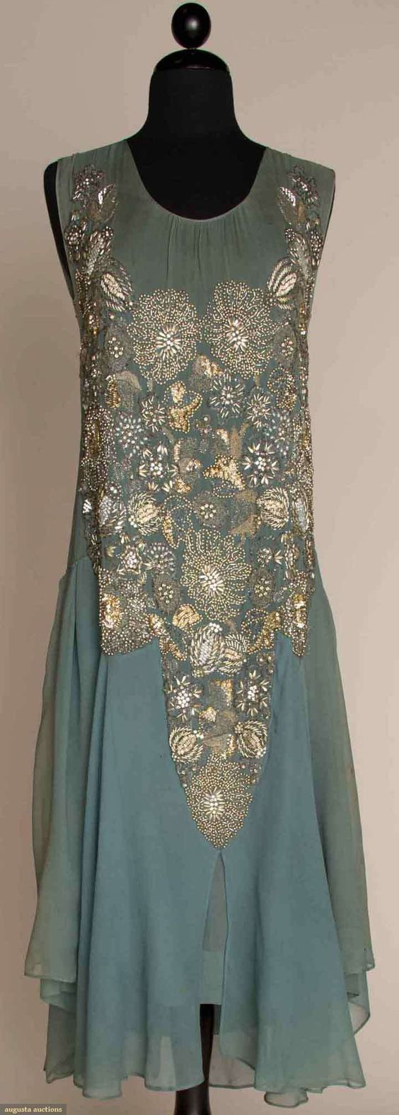 Blue-grey silk chiffon dress with beading, faux gems, and embroidery in metallic silver, gold, and ivory, French, c. 1925.