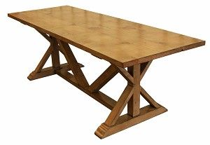 love this smooth top on a reclaimed wood trestle table.