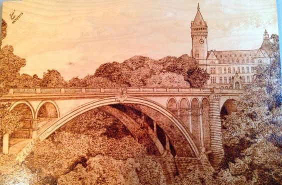 Paraguay pyrography | Pont Adolphe Luxembourg, pyrography, pirografia, pyrogravure.