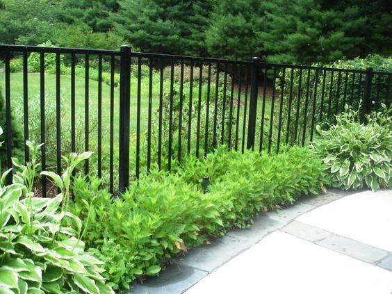 Aluminum Fencing. I like the idea of a plant border in ...
