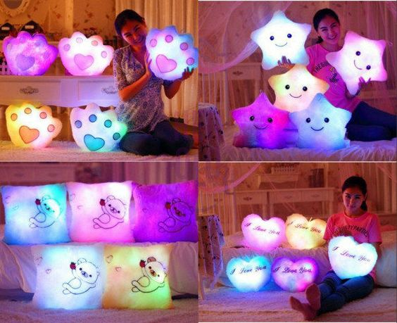 Romantic LED Light Cartoon Cute Colorful Pillow Christmas Brithday gifts