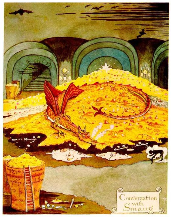 Bilbo's conversation with Smaug, illustration by J.R.R. Tolkein for 'The Hobbit'