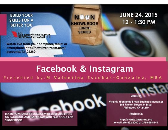 Facebook & Instagram Noon Knowledge Session, June 24.2015 by Sandy Ratliff via slideshare