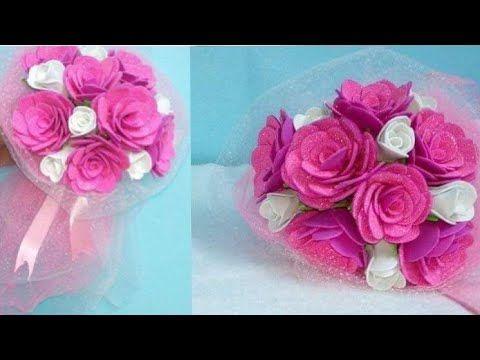 اعملى بنفسك ورد هديه لست الحبايب Youtube Making A Bouquet Rose Bouquet Bouquet
