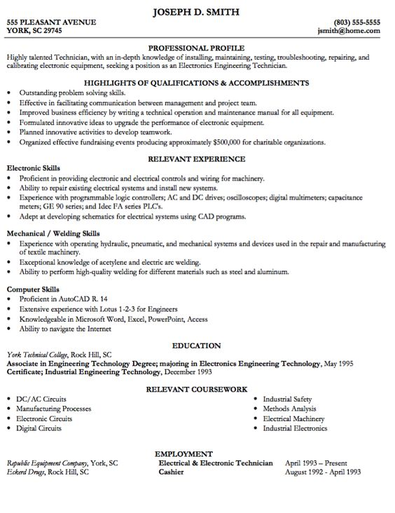 R And D Test Engineer Sample Resume Example Of Engineering Tech Resume  Httpexampleresumecv .