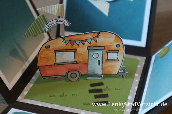 "Lenky & Verzickt: A Dutch Explosion Box - Dank je wel, Celine! I made a Thank you Explosion Box for our Dutch teacher. The camper of Stampin' Up! Set ""Glamper Greetings"" suits so well for a cliche Dutch thank you gift."