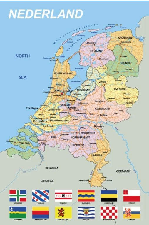 Kurk Prikbord Landkaart Nederland Zelfklevend 90 X 60 Cm 6mm