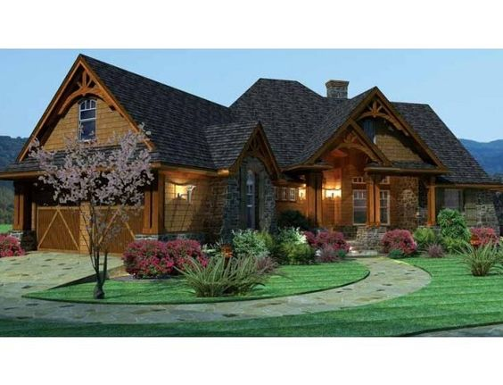 House plans ranch style with basement front view2 600x459 for Ranch style house plans with basement