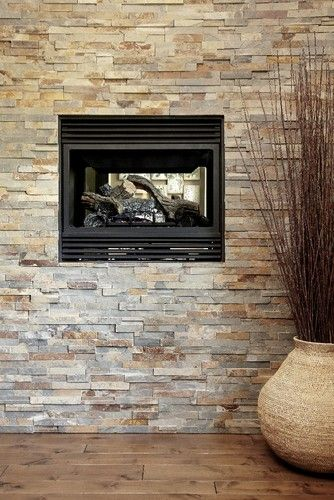 Stone feature wall with fireplace contemporary living - Living room feature wallpaper ideas ...