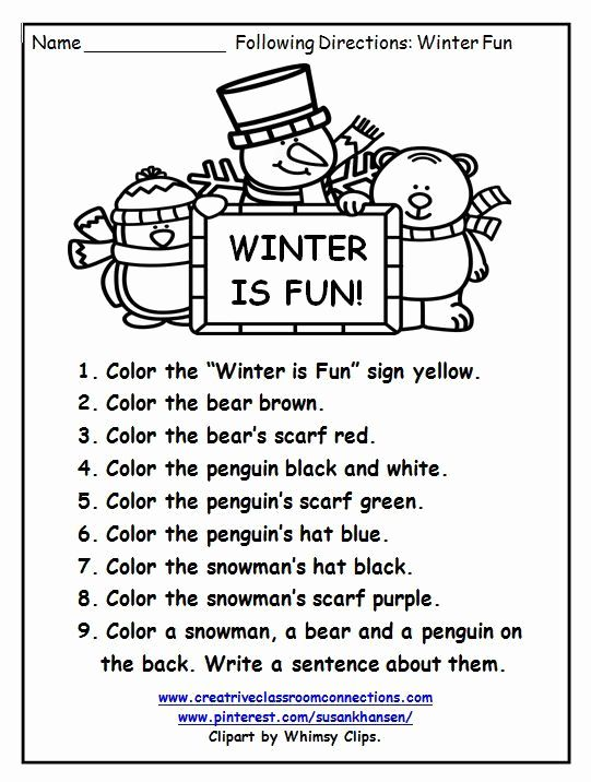 Christmas Preschool Worksheets Follow The Direction Kindergarten Worksheets Preschool Worksheets Following Directions Activities