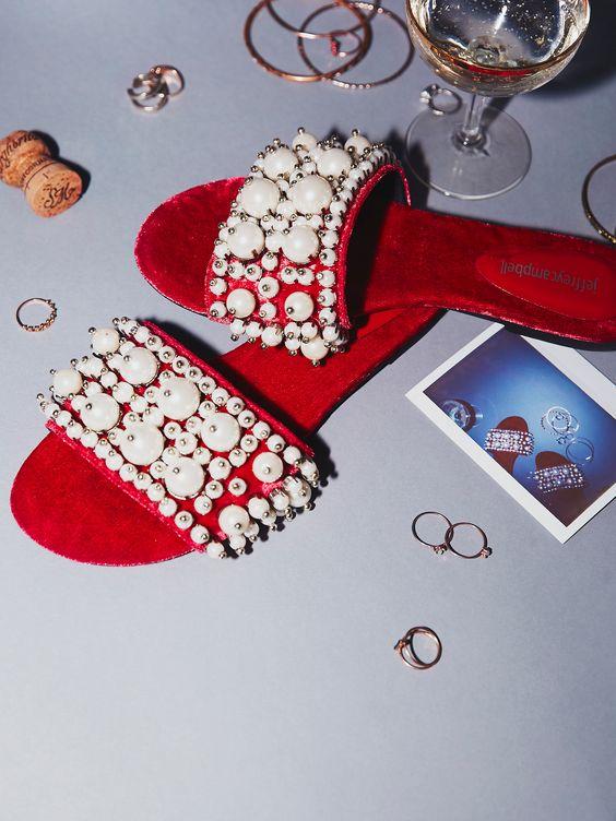 red velvet and embellished slides
