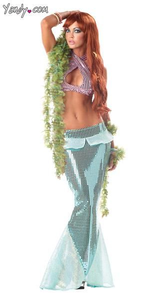 Sexy Mermaid Costume - Dive under the sea in this Sexy Mermaid Costume. Includes halter top and skirt. Wig sold separately.