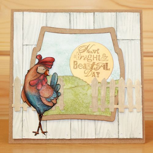 CS132D 'Funky Chicken' Clear set contains 11 stamps. Designed by the very talented Sharon Bennett for Hobby Art. Card made by Sally Dodger.: