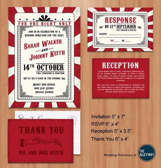 Printable Wedding Invitation Suite- Vintage Rockabilly Red