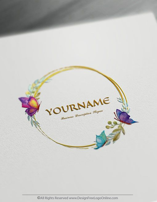 Free Watercolor Logo Maker Online Butterflies Logo Template