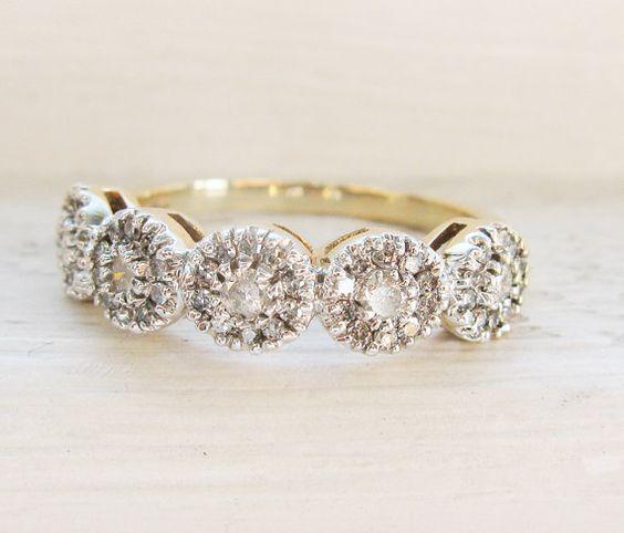 Vintage Art Deco Style Diamonds Half Eternity Engagement and Wedding Ring - Ca 0.75 ct